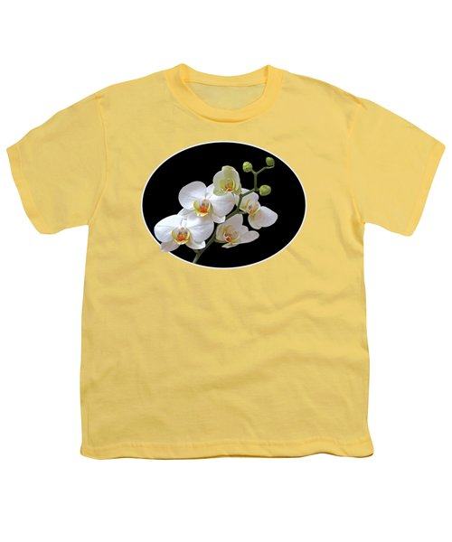 Orchids On Black And Gold Youth T-Shirt by Gill Billington