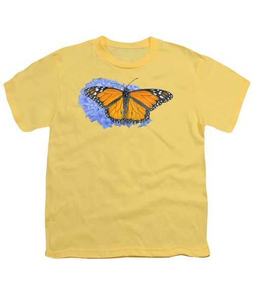 Monarch Butterfly And Hydrangea- Transparent Background Youth T-Shirt by Sarah Batalka
