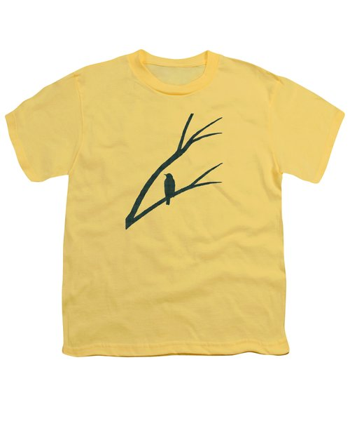 Green Bird Silhouette Plaid Bird Art Youth T-Shirt by Christina Rollo