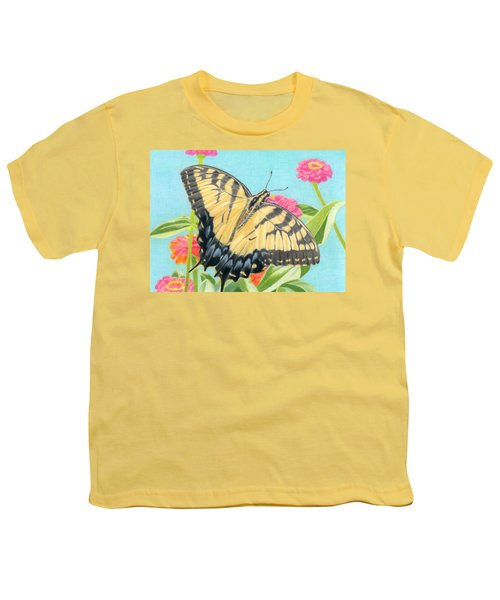 Swallowtail Butterfly And Zinnias Youth T-Shirt by Sarah Batalka