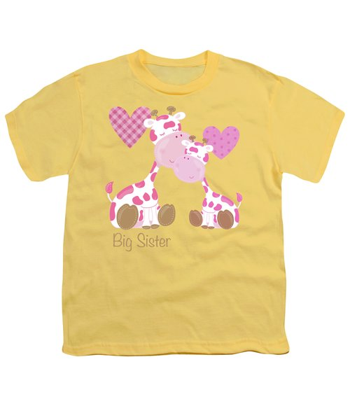 Big Sister Cute Baby Giraffes And Hearts Youth T-Shirt