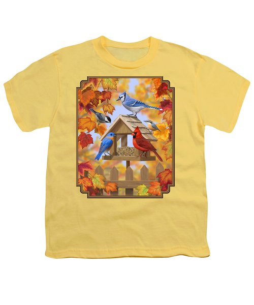 Bird Painting - Autumn Aquaintances Youth T-Shirt by Crista Forest