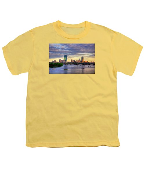 Boston Skyline Sunset Over Back Bay Youth T-Shirt by Joann Vitali