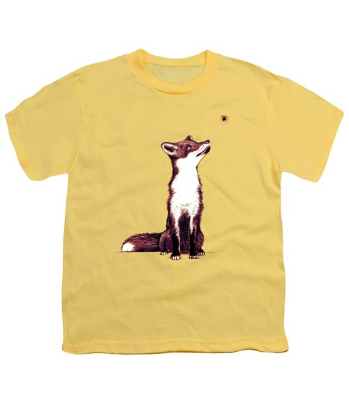 Brown Fox Looks At Thing Youth T-Shirt by Nicholas Ely