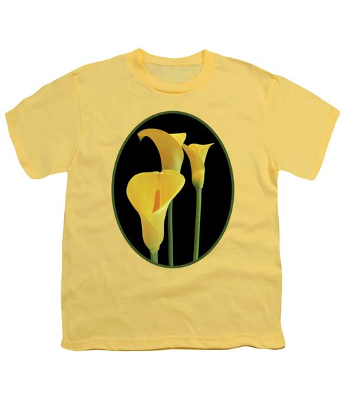 Calla Lilies - Yellow On Black Youth T-Shirt by Gill Billington