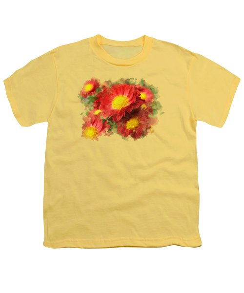 Chrysanthemum Watercolor Art Youth T-Shirt by Christina Rollo