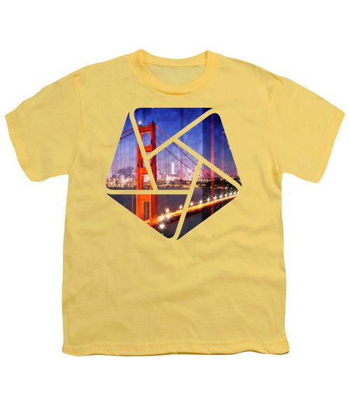 City Art Golden Gate Bridge Composing Youth T-Shirt by Melanie Viola