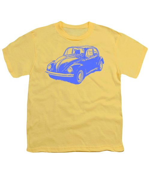 Classic Vw Beetle Tee Blue Ink Youth T-Shirt by Edward Fielding