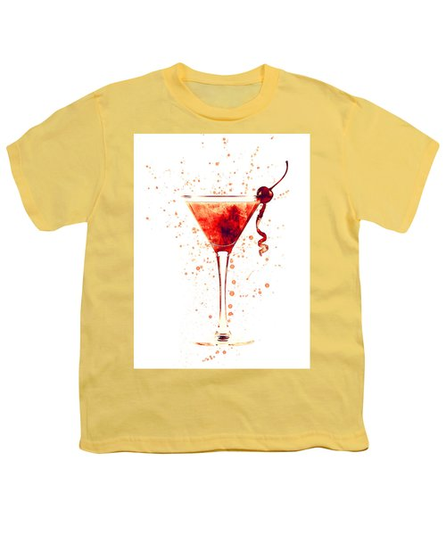 Cocktail Drinks Glass Watercolor Red Youth T-Shirt
