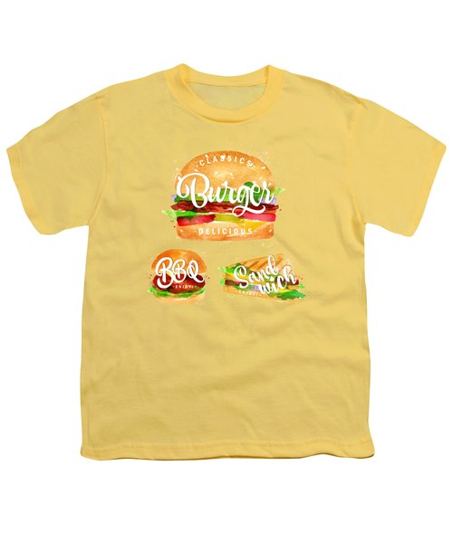 Color Burger Youth T-Shirt by Aloke Creative Store