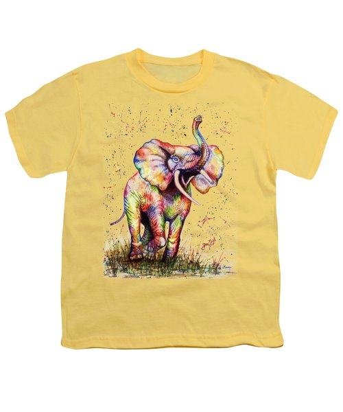 Youth T-Shirt featuring the painting Colorful Watercolor Elephant by Georgeta Blanaru