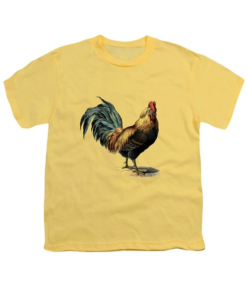 Cottage Rooster Illustration Vintage Dictionary Book Page Youth T-Shirt