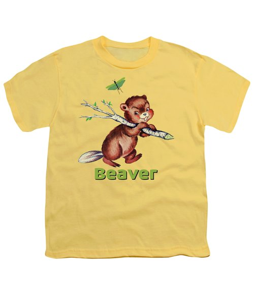 Cute Baby Beaver Pattern Youth T-Shirt