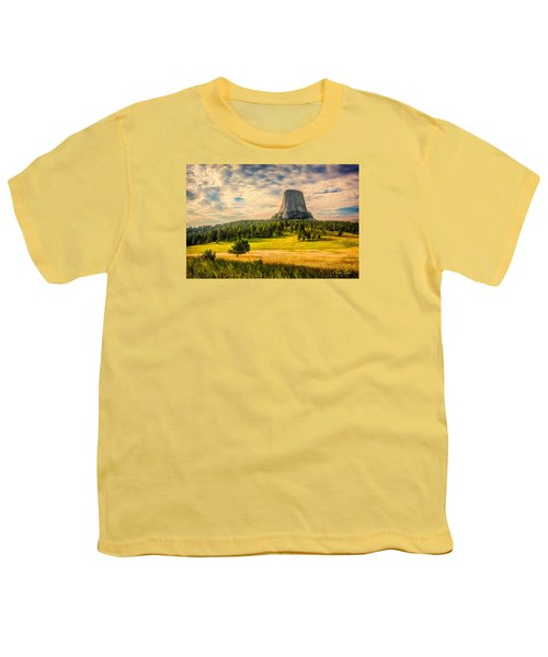 Youth T-Shirt featuring the photograph Devil's Tower - The Other Side by Rikk Flohr