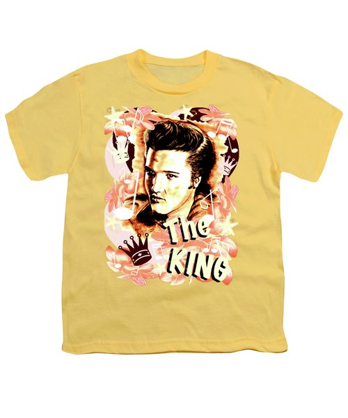 Elvis The King In Salmon Red Youth T-Shirt by Gitta Glaeser