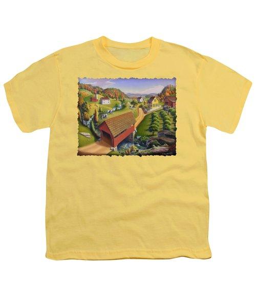 Folk Art Covered Bridge Appalachian Country Farm Summer Landscape - Appalachia - Rural Americana Youth T-Shirt