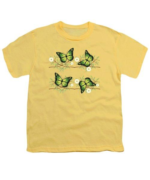 Four Green Butterflies Youth T-Shirt by Gaspar Avila