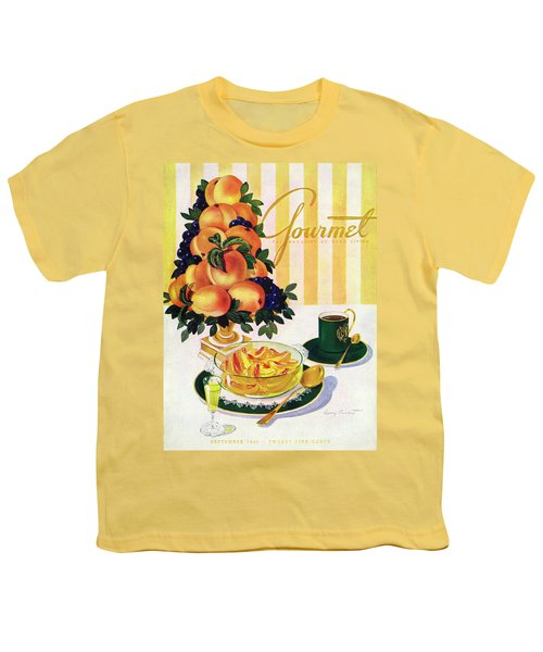 Gourmet Cover Featuring A Centerpiece Of Peaches Youth T-Shirt