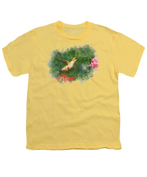 Hummingbird - Watercolor Art Youth T-Shirt