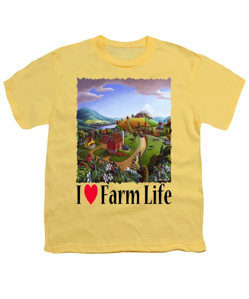 I Love Farm Life - Appalachian Blackberry Patch - Rural Farm Landscape Youth T-Shirt