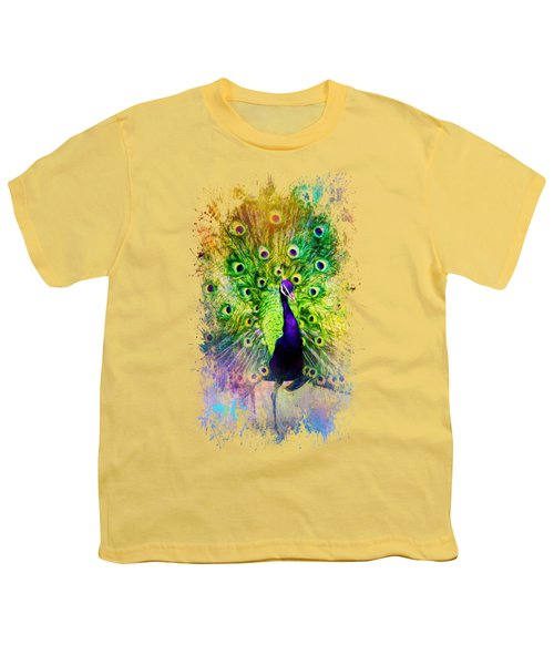Jazzy Peacock Colorful Bird Art By Jai Johnson Youth T-Shirt by Jai Johnson