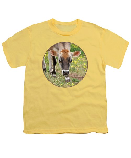 Look Into My Eyes - Jersey Cow - Square Youth T-Shirt by Gill Billington
