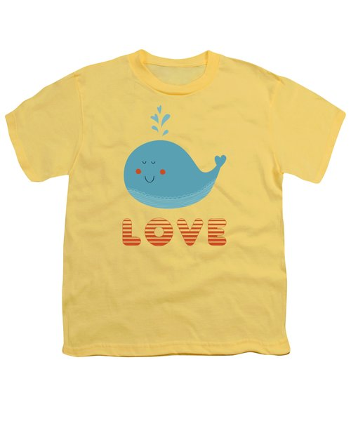 Love Whale Cute Animals Youth T-Shirt by Edward Fielding