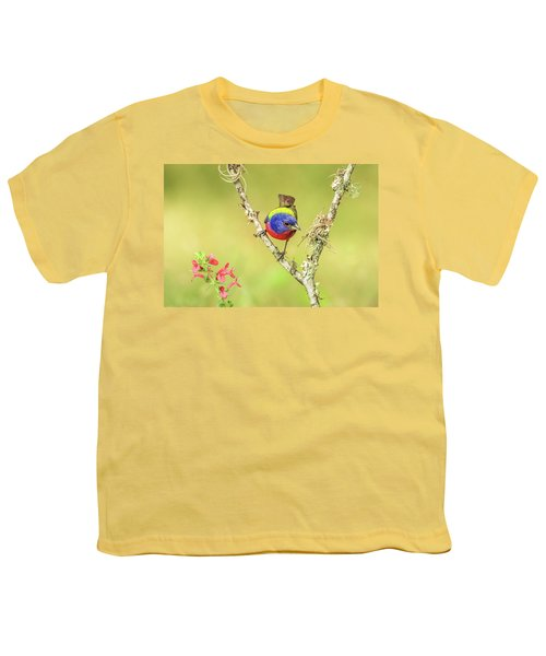 Male Painted Bunting #2 Youth T-Shirt by Tom and Pat Cory