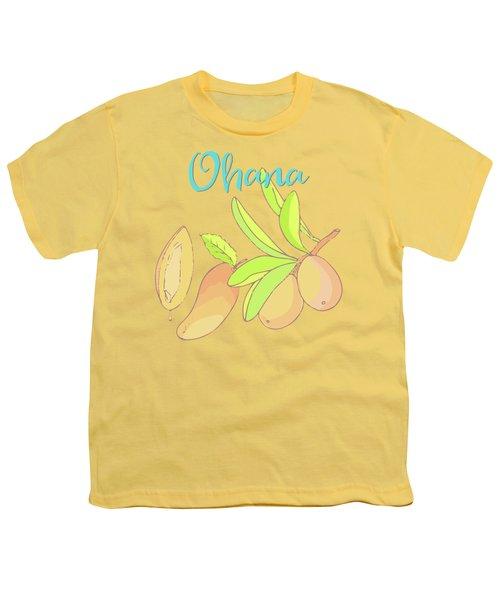 Mango Ohana Tropical Hawaiian Design Of Fruit And Family Youth T-Shirt by Tina Lavoie