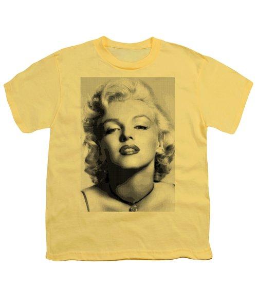 Marilyn Monroe - Bw Hexagons Youth T-Shirt by Samuel Majcen