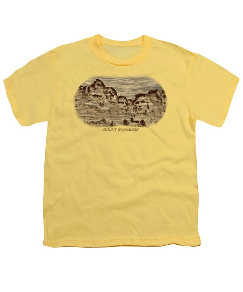 Mount Rushmore Woodburning 2 Youth T-Shirt by John M Bailey