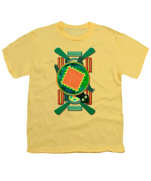 Native American 3d Turtle Motif Youth T-Shirt by Sharon and Renee Lozen