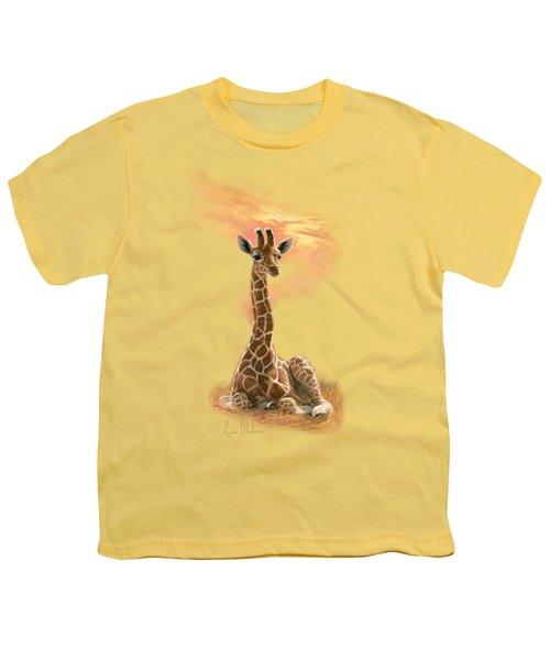 Newborn Giraffe Youth T-Shirt by Lucie Bilodeau