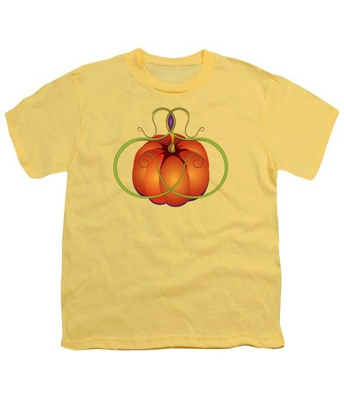 Orange Curvy Autumn Pumpkin Graphic Youth T-Shirt