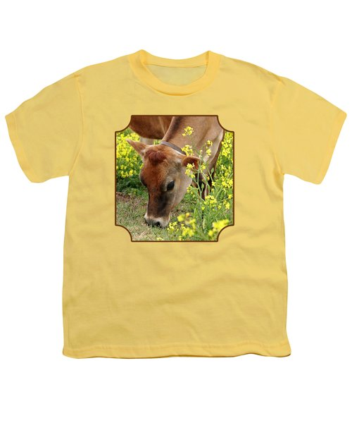 Pretty Jersey Cow - Vertical Youth T-Shirt by Gill Billington