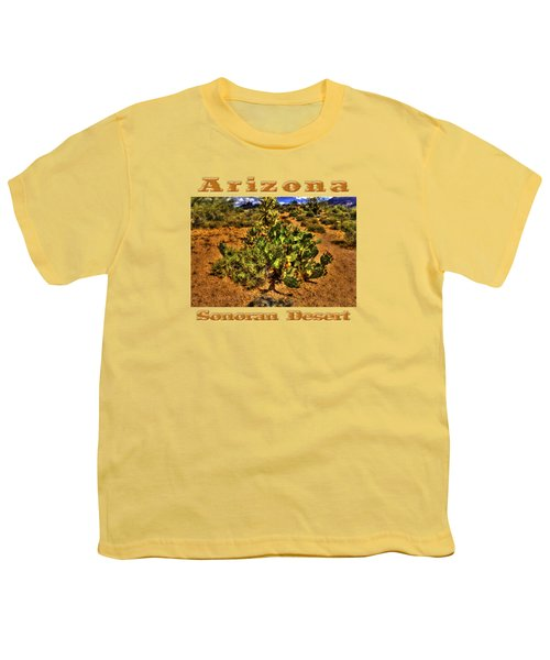 Prickly Pear In Bloom With Brittlebush And Cholla For Company Youth T-Shirt by Roger Passman