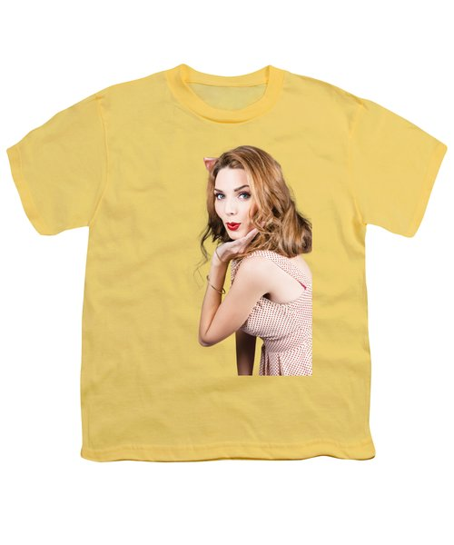 Quirky Portrait Of A Posing 50s Girl In Pinup Style Youth T-Shirt