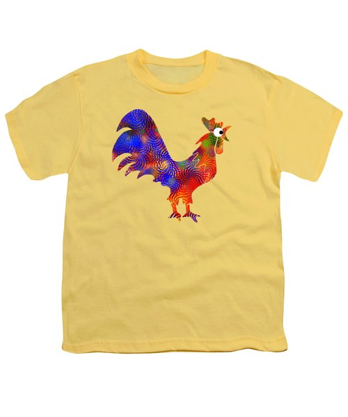 Red Rooster Art Youth T-Shirt by Christina Rollo