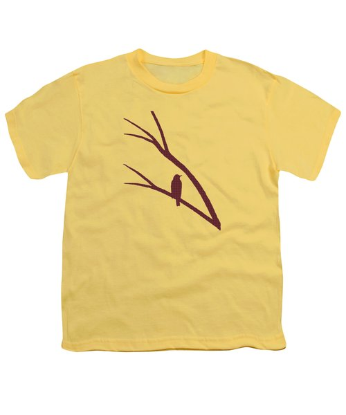 Youth T-Shirt featuring the mixed media Rustic Bird Art Dark Red Bird Silhouette by Christina Rollo