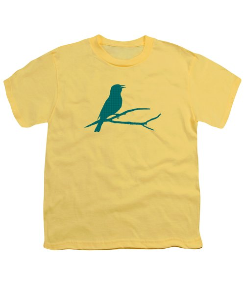 Youth T-Shirt featuring the mixed media Rustic Green Bird Silhouette by Christina Rollo