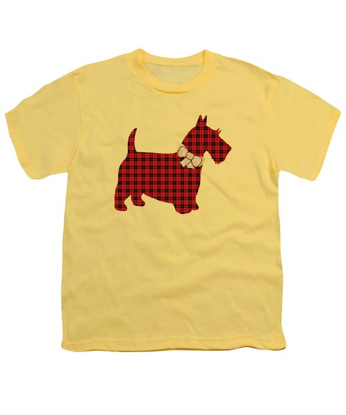 Youth T-Shirt featuring the mixed media Scottie Dog Plaid by Christina Rollo