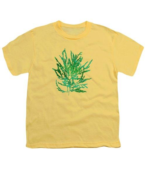 Youth T-Shirt featuring the mixed media Sea Green Seaweed Art Odonthalia Dentata by Christina Rollo