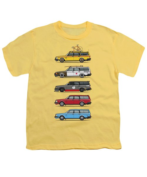 Stack Of Volvo 200 Series 245 Wagons Youth T-Shirt