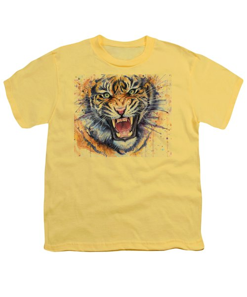 Tiger Watercolor Portrait Youth T-Shirt