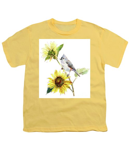Titmouse With Sunflower Youth T-Shirt