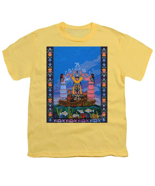 Youth T-Shirt featuring the painting Together We Over Come Obstacles by Chholing Taha