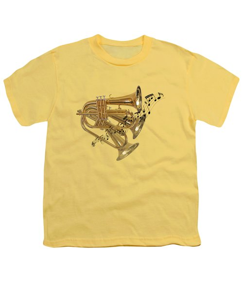 Trumpet Fanfare Youth T-Shirt by Gill Billington