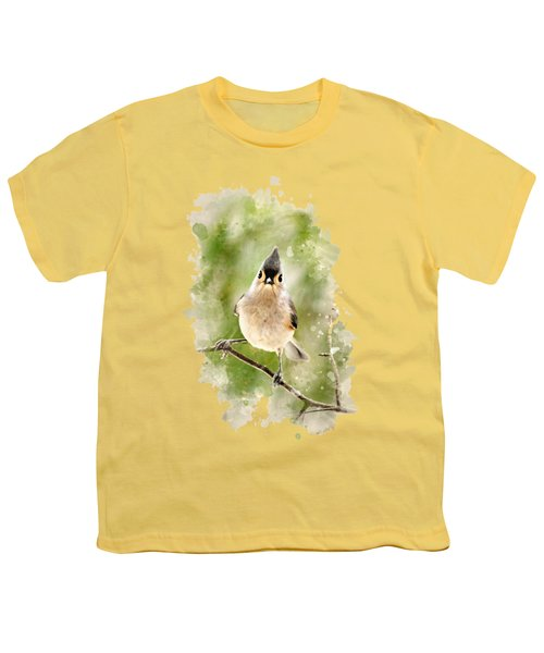 Tufted Titmouse - Watercolor Art Youth T-Shirt