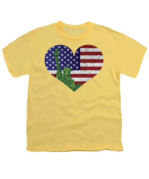 Usa Heart Flag And Statue Of Liberty Youth T-Shirt by Jit Lim