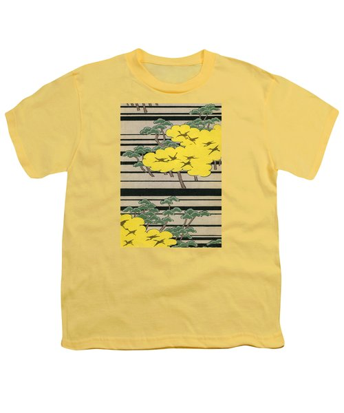 Vintage Japanese Illustration Of An Abstract Forest Landscape With Flying Cranes Youth T-Shirt